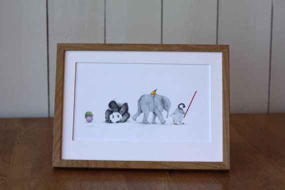 Big card with turtle tortoise panda elephant by AneIllustration