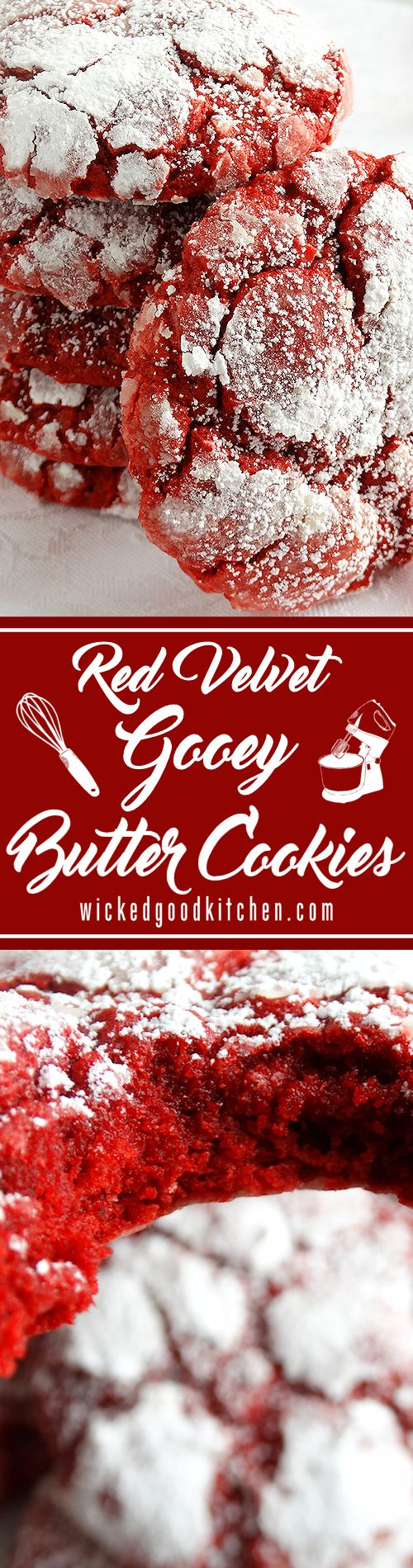 Red Velvet Gooey Butter Cookies ~ Buttery, light and tender-crumbed.  (with gluten free option and natural coloring method)