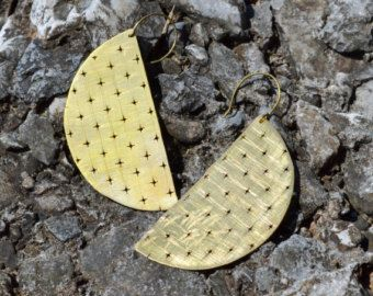 Textured brass earrings with cross holes