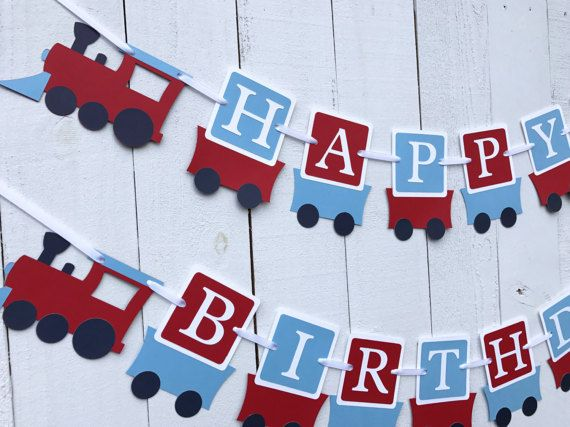 Train birthday banner All orders are custom made and shipped 2 day Priority the week before your party. Listed below are the options: $15.00 ~ Name banner includes first name only ( up to 10 letters). If your childs name is longer please email me for a special order. $30.00 ~