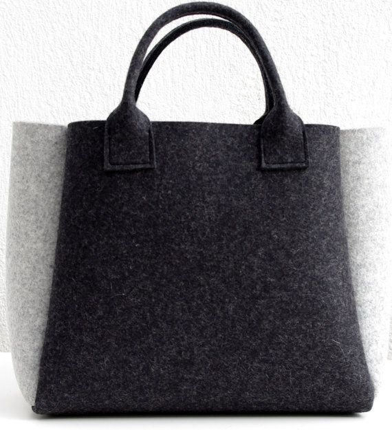 Charcoal Felt Shopper Gray Bag Felt Handbag Shopping by WeltinFelt, €48.00