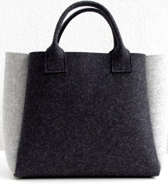 Charcoal Felt Shopper Gray Bag Felt Handbag Shopping by WeltinFelt, €48.00
