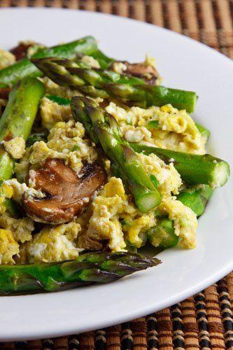 Paleo breakfast: Eggs mushrooms and asparagus.