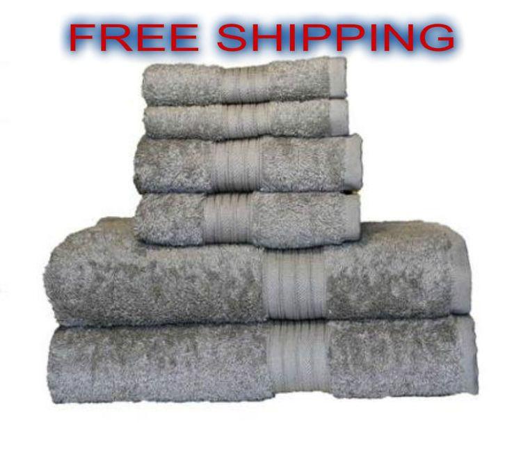 Towel Bath Set 100% Egyptian Cotton 6-piece Luxury Spa Soft Touch Ice Grey