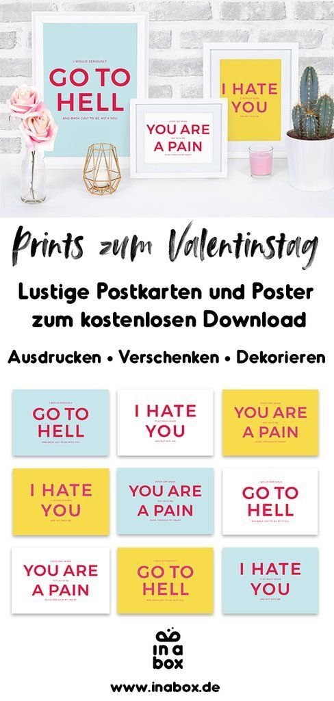 Printable: Freebie Karten und Poster zum Valentinstag