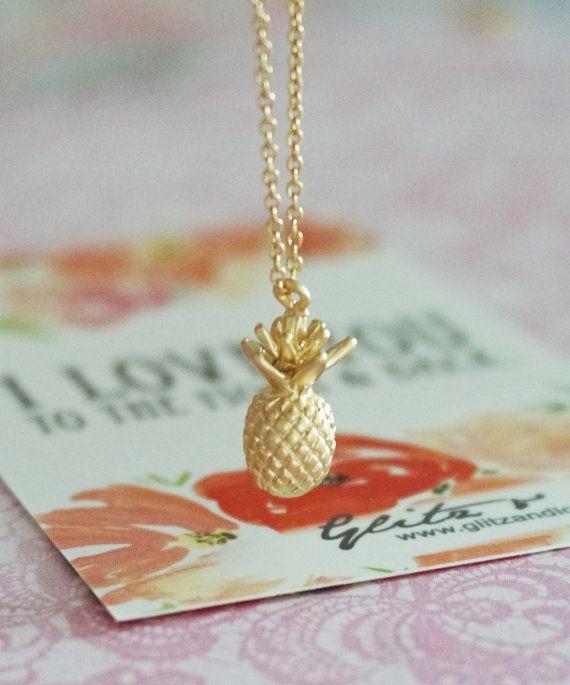 Gold Pineapple pendant on gold plated chain. summer fun wedding idea. bridal shower gifts. garden wedding. www.glitzandlove.com