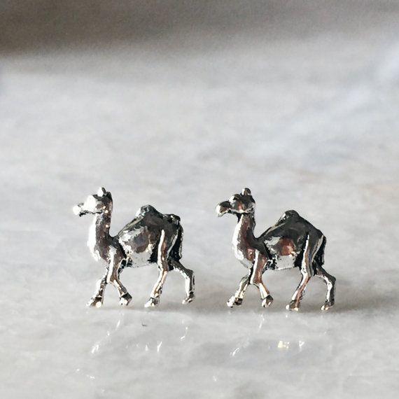 Sterling silver camel ear studs, Tiny camel ear studs, Camel earrings, Silver jewellery, Tiny silver jewelry, Cartilage ear stud (ES101)