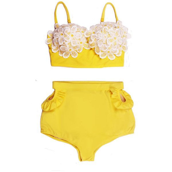 Daisy Yellow White Lace Top and Cut Out High Waist Waisted Highwaisted... ($40) ❤ liked on Polyvore featuring swimwear, bikinis, swim, bathing suits, underwear, light pink, women's clothing, retro bikini, retro high waisted swimsuit and high waist bikini swimsuit