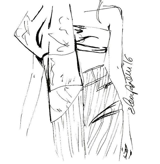 Sketch of @roberto_cavalli #casabignami #fashionillustration #robertocavalliss16 #cavalli #ss16 #loveit #illustration #sketch #art #jeans #runaway #myedit #vogue #mak#madeinitaly #milano #walking #ink