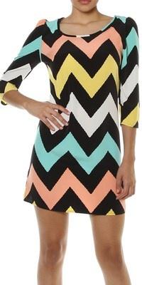 Sexy New Women Pastel Chevron Print Shift Dress Zig Zag 3 4 Sleeve Mini Dress | eBay