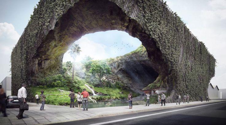 フィリピンマニラの市街地に突如現れる岸壁の洞窟。隈研吾によるフィリピン祖先の知恵博物館 | Architecturehack - アーキテクチャーハック