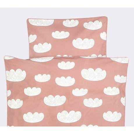 Ferm Living Dekbedovertrek Cloud wolken roze katoen 170x100cm -Baby