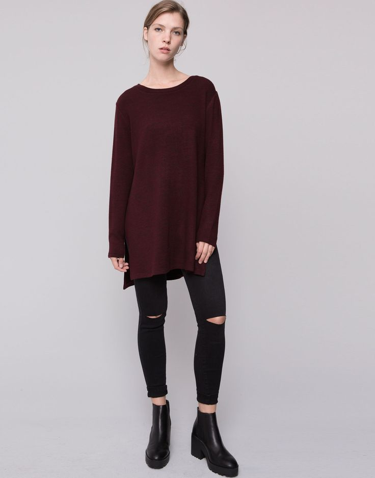 KNITTED TUNIC SWEATER - CARDIGANS & SWEATERS - WOMAN - PULL&BEAR Jordan