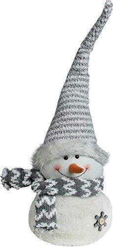 Felices Pascuas Collection 24.5 inch Gray and White Snowman with Striped Hat Christmas Tabletop Decoration
