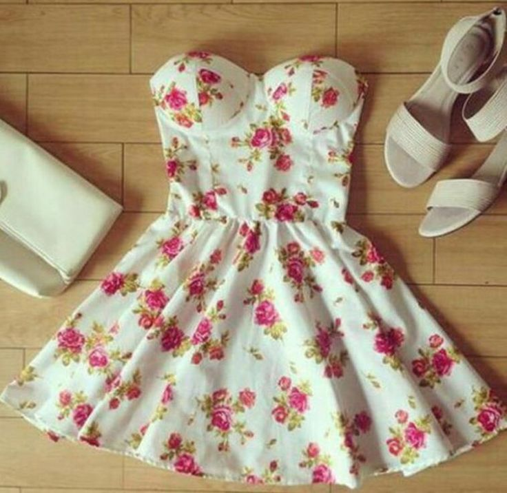 CUTE STRAPLESS SEXY FLORAL DRESS