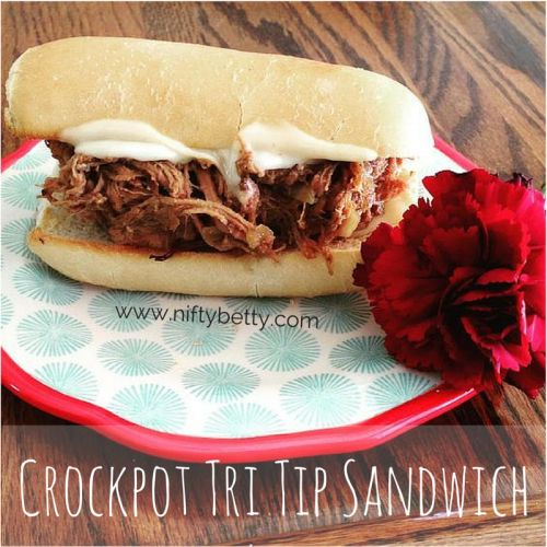 This is so easy and delicious. You throw it in the crockpot in the morning and by dinner time it's ready. YES! Tri Tip Sandwiches!