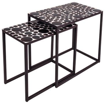 New Rustics Mosaic Rectangular Side Tables Set of 2 in Wrought Iron traditional-coffee-table-sets