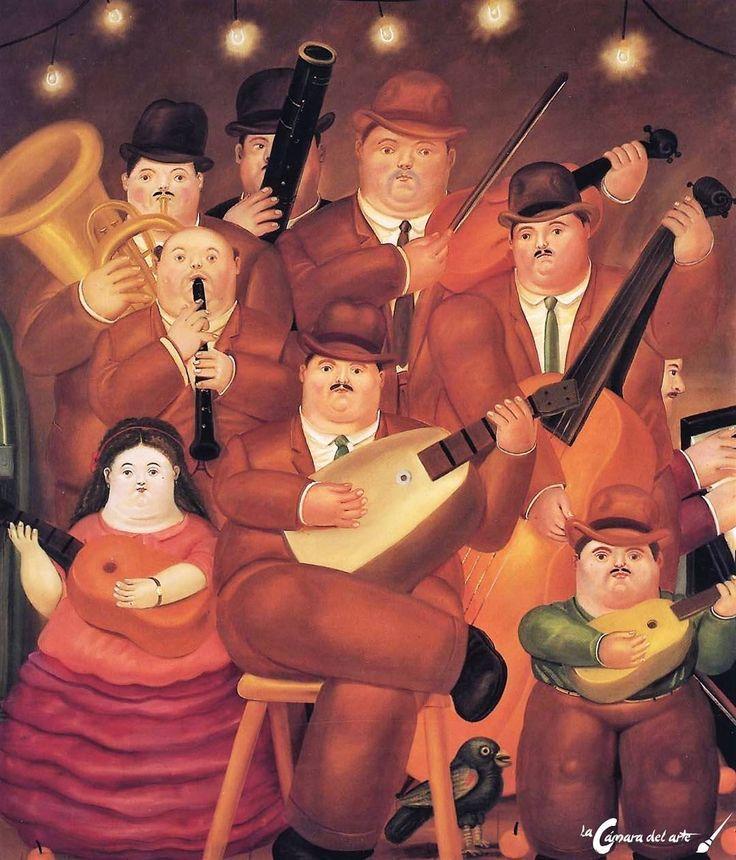 """""""Los músicos"""", obra de 1979 del pintor colombiano Fernando Botero. Entra en nuestro blog si quieres conocer el origen de estas formas tan volumétricas. #lacamaradelarte #Arte #botero #colombia #Art #músicos #artworks"""
