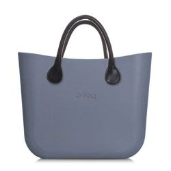 Mini O bag - Steel Grey with Black Leather Handle and Shoulder Strap. The O bag has now been designed in a mini version; made of the same material, it has a slightly smaller body and is designed to suit short handles in leather or rope. The Italian designed Mini O bag is a beautifully simple, modern and versatile handbag; its soft, tactile, waterproof, lightweight and resilient. #Womens #handbags