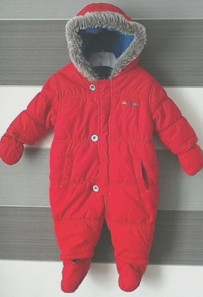 3e4553567 Mothercare Baby Boys Red Snowsuit Fleece LIned 3-6 Months ...