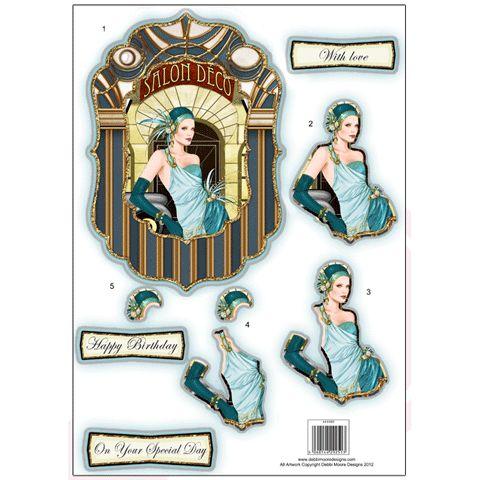 Art Deco Die Cut Decoupage - fancy blue