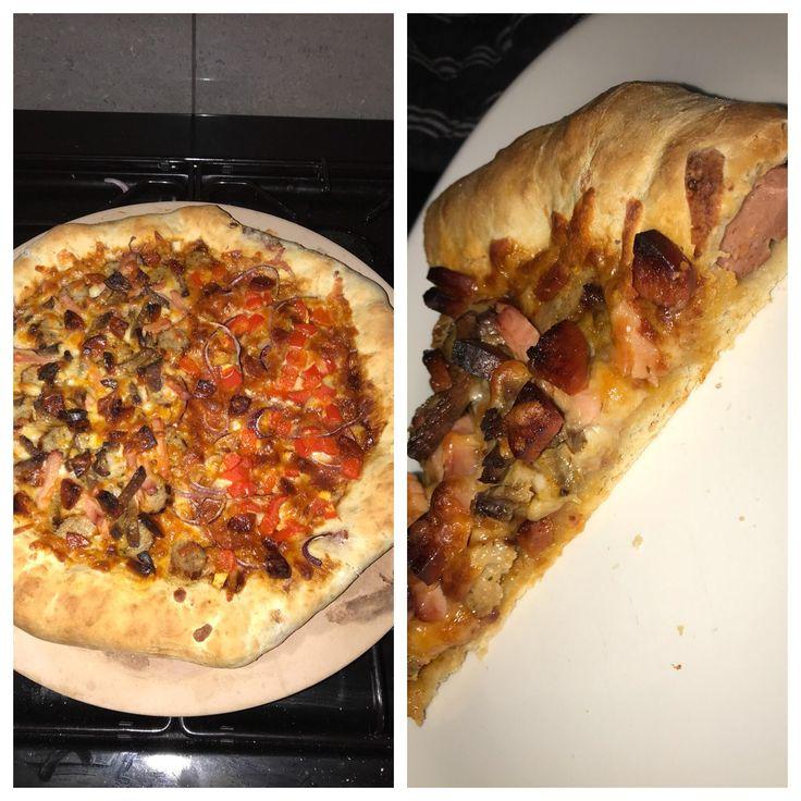 [Homemade] - half meat feast and half pepperoni - hotdog stuffed crust pizza