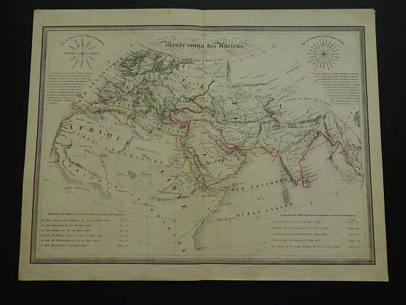 WORLD MAP old print of ancient Worldmap 1840 original antique