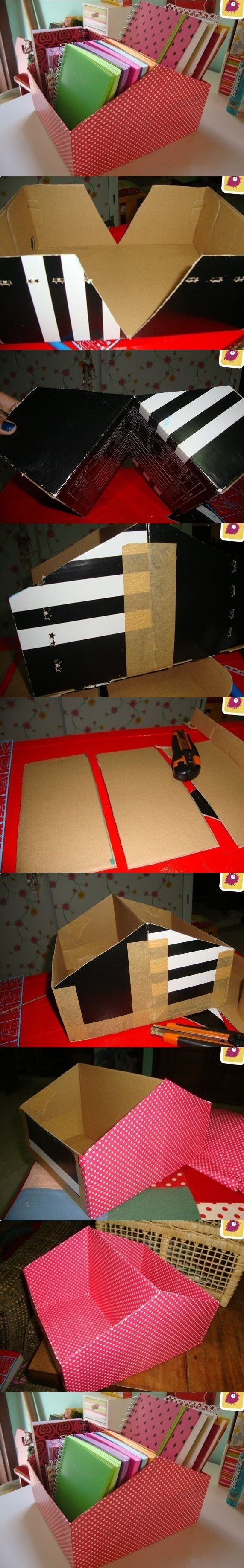 Tutorial de organizador com caixa de papelão , super fácil ;)