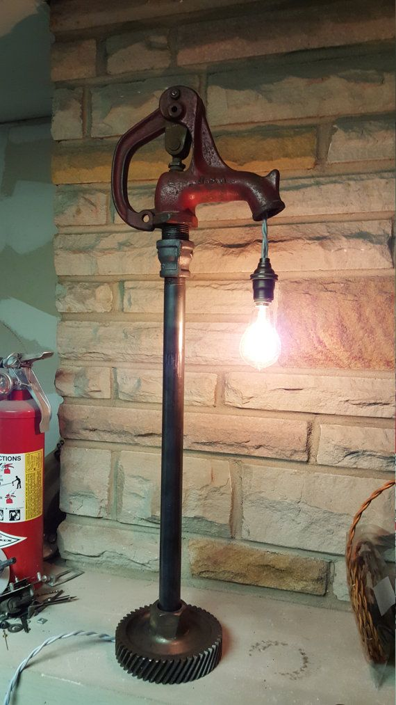 Industrial farm water pump lamp by atomicvault9 on Etsy