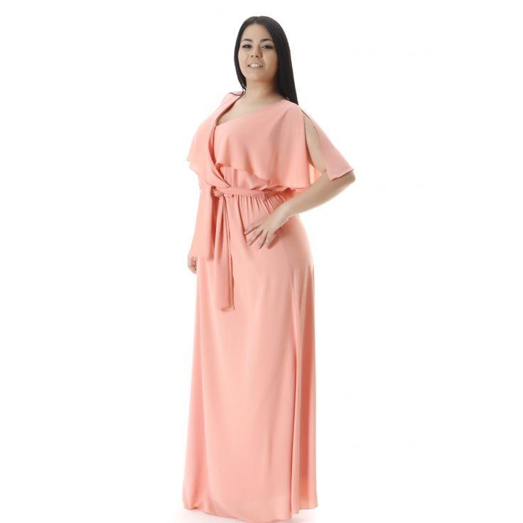 Φόρεμα maxi μουσελίνα με βολάν σε μεγάλα νούμερα
