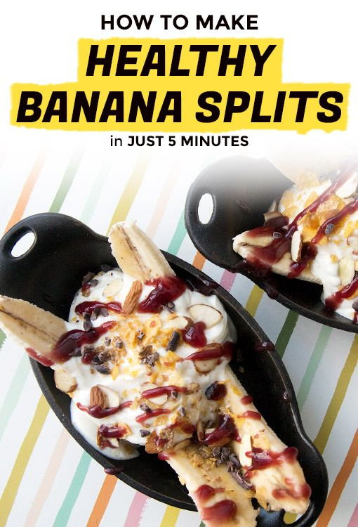 5-Minute Breakfast Banana Splits Recipe | Extra Crispy | Make this healthy breakfast banana split in just 5 minutes with the same giddy anticipation you have when you walk into an ice cream shop. Add whatever toppings you prefer to this quick breakfast recipe (ours are just suggestions). There's also peanut butter, berries, toasted coconut, and sprinkles, because every classic banana split needs some sprinkles.