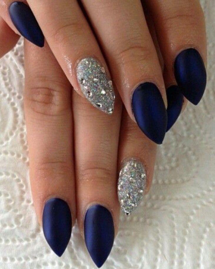 Dark Blue Silver Glitter Nails Blue Glitter Nails Navy And Silver Nails Silver Nails
