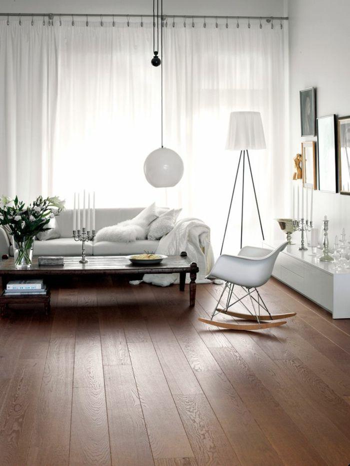 pose parquet massif dans le salon moderne de style scandinave