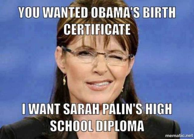 A funny joke poking fun at Sarah Palin.
