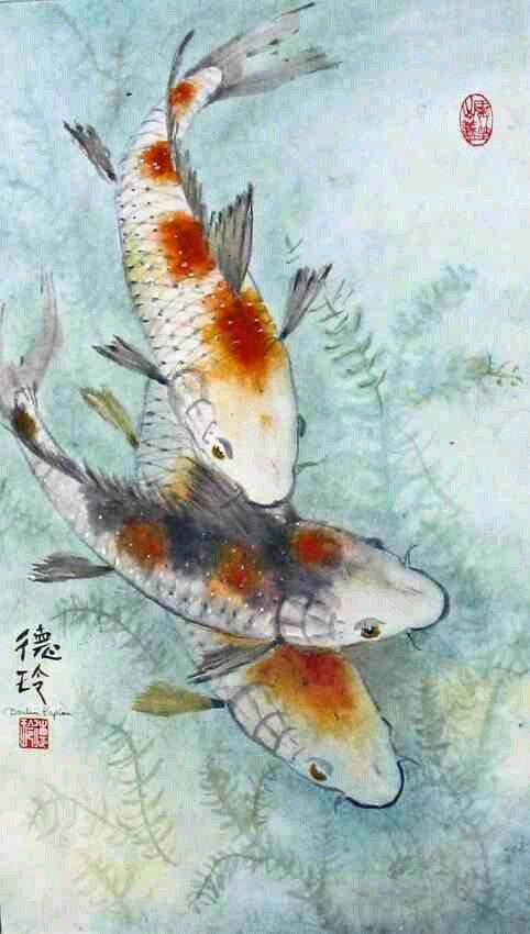 25 best images about asian art on pinterest mountain for Koi fish predators