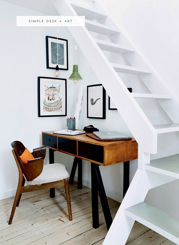 a super simple desk nook under the stairs | coco+kelley - in the details