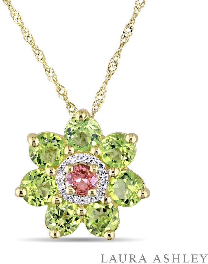 FINE JEWELRY Laura Ashley Womens Green Peridot 18K Gold Over Silver Pendant Necklace