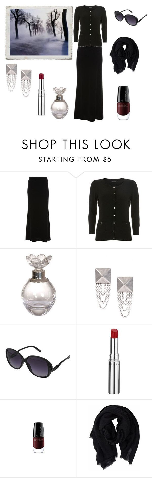 """Black winter day"" by rougenoir666 ❤ liked on Polyvore featuring DANNIJO, Forever 21, Chantecaille, earrings, winter, velvet maxi skirt, black cardigan, perfume, artdeco nailpolish and lipstick"
