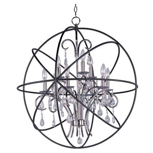 Maxim Lighting International Orbit Anthracite And Polished Nickel Nine Light Single Tier Chandelier On SALE