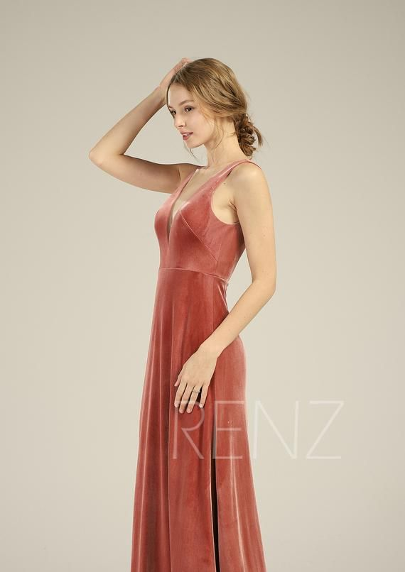 4c4ff1572f8 Velvet Bridesmaid Dress English Rose Illusion Boat Neck Wedding ...