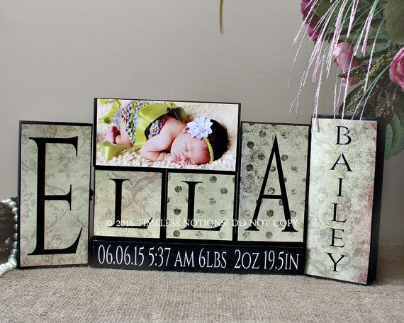 Birth Stats Blocks - Wooden Baby Name Sign - Unique Baby Shower Gift - Christening Gift - 4 Letters First Name and Middle Name Sign