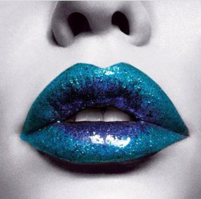 Turquoise and blue lipstick. Glittery, too!