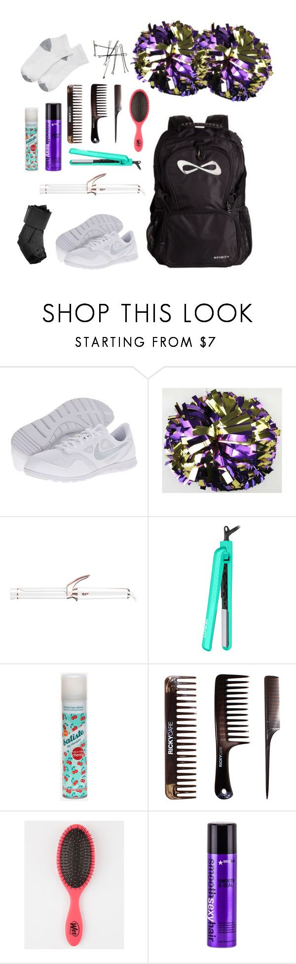 """""""what's in my cheer bag on game day!"""" by libster4404 ❤ liked on Polyvore featuring NIKE, T3, Lorion, Batiste, Sexy Hair and Hanes"""