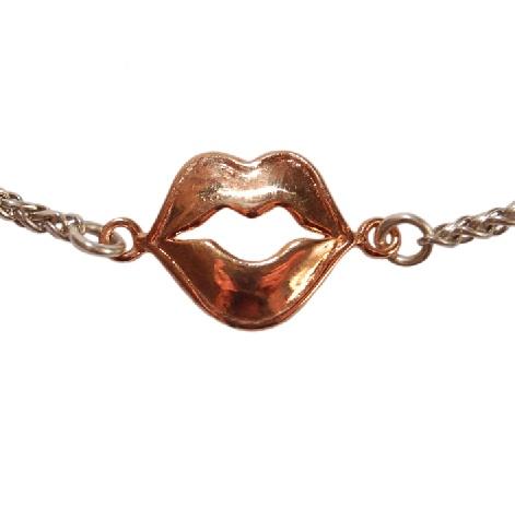 Beautiful rose gold lips necklace by Lisa E Moss. www.lisaemoss.com