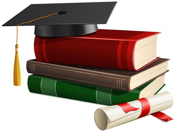 Graduation Cap Books and Diploma PNG Clipart