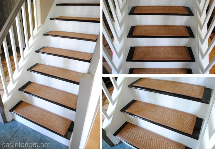 Staircase Makeover - Carpet Treads - they have velcro pieces that stick to the stair.