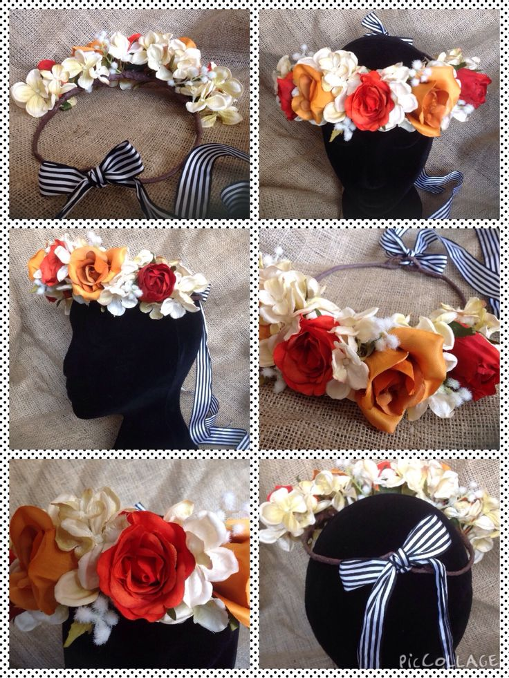 Luxury handmade bespoke artificial flower crowns  #wedding #flower #crown #silk #autumn #boho # striped #handmade #bespoke #luxury #bride #flowergirl