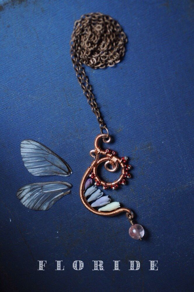 Wire wrap, polymer clay Necklace  Polymer clay flowers, Thai clay  http://www.livemaster.ru/floride