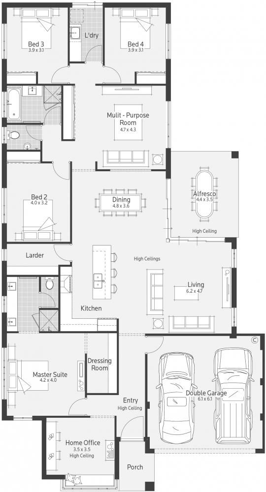 Santa Monica Display Home - Lifestyle Floor Plan. Pinning this because we liked the size of the alfresco in the display home - wasn't too big!