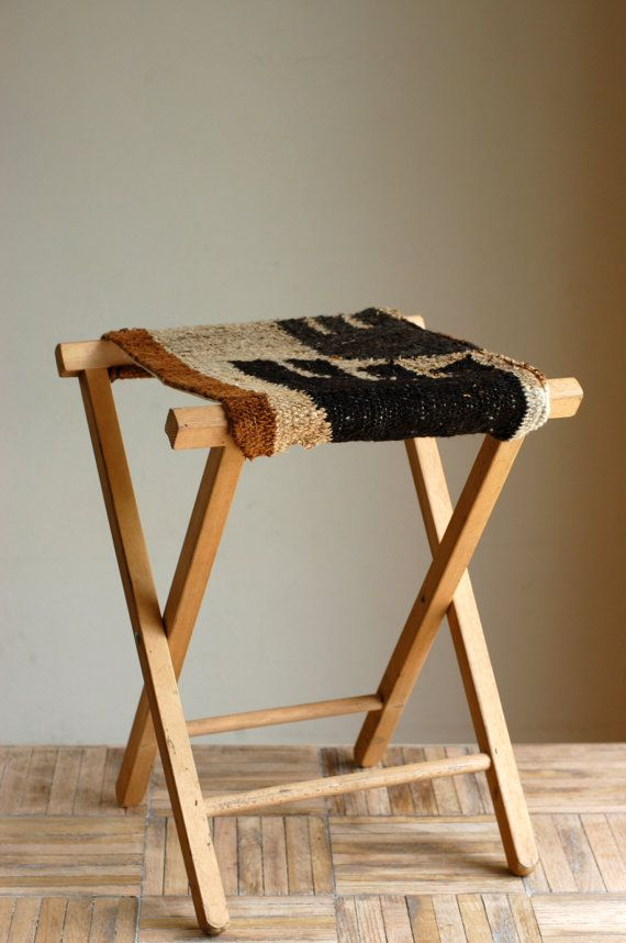 Vintage Rustic Wood Camping Stool with Handwoven Rug by bonnbonn